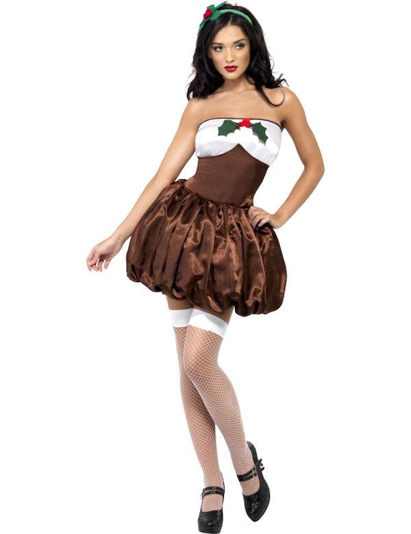 Fever Uitdagend Kerstpudding Vrouw Kostuum