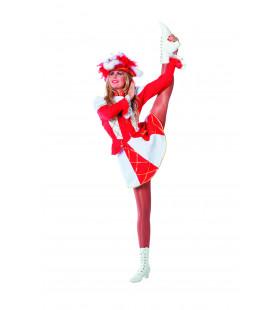 Showmeisje Dansmarietje Bi-Stretch, Rood Vrouw Kostuum