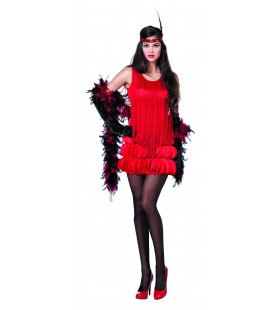 New York Charleston Rood, Blaadjes Vrouw Kostuum