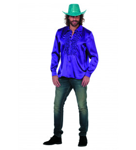 Foute Paarse Ruchesblouse Satijn Man Kostuum