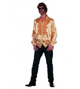 Foute Gouden Ruchesblouse Satijn Man Kostuum
