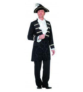 Zwarte Chique Piratenjas Jacquard Man Kostuum