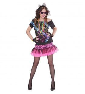 Roze 80s Rock Meisje Vrouw Kostuum