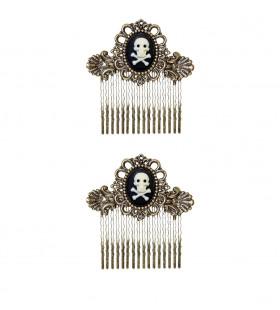 Piraten Accessoire Haarklemmen Schedel Met Botten